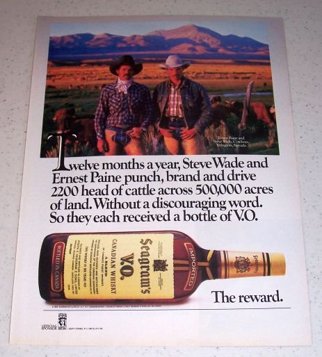 1985 Seagram's Canadian Whiskey Color Liquor Ad Ernest Paine Steve Wade Yerington Nevada
