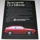 1986 VW Volkswagen Scirocco Automobile Color Car Ad