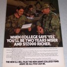 1986 ARMY GI Bill Army College Fund Tank Color Ad