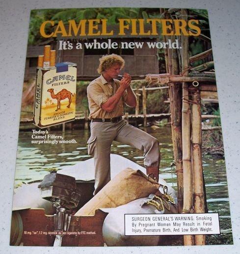 1985 Camel Lights Cigarettes River Boating Color Tobacco Ad