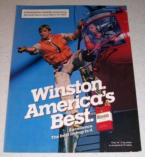 1986 Winston Cigarettes Helicopter Rescue Color Tobacco Ad