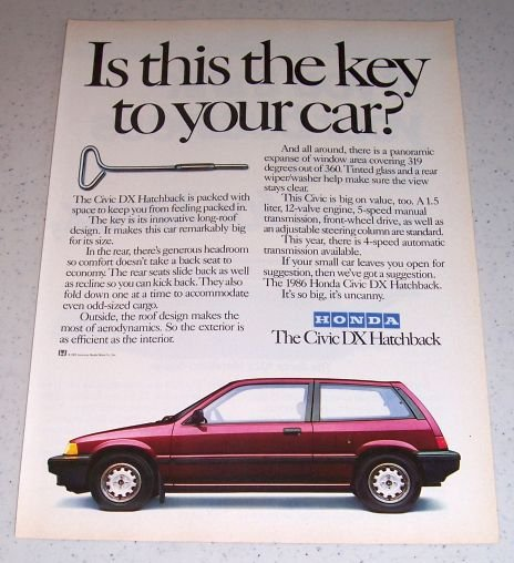 1986 Honda Civic DX Hatchback Automobile Color Car Ad