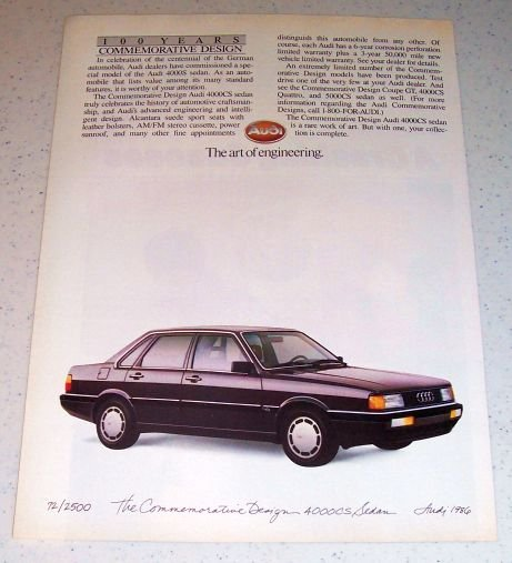 1986 Commemorative Design Audi 4000CS Automobile Color Car Ad