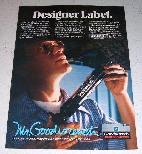 1986 Mr Goodwrench Genuine GM Parts Color Ad - Designer Label