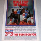1986 Budweiser Beer Color Brewery Ad NBA Basketball Dominique Wilkins Patrick Ewing James Worthy