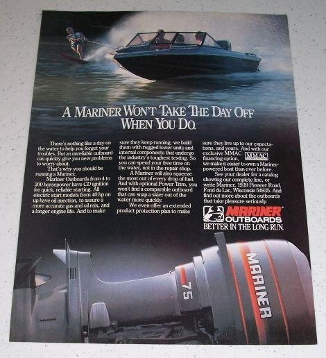 1986 Mariner 75 Outboard Motor Water Skiing Color Ad