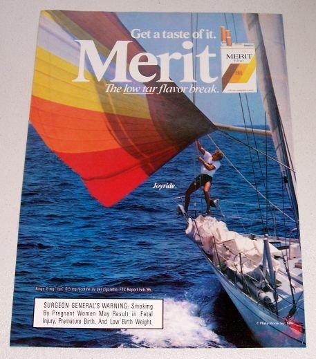 1986 Merit Cigarettes Sail Boating Color Tobacco Ad