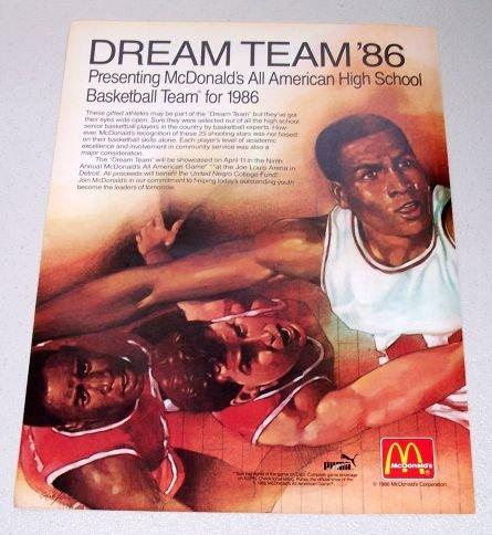 1986 McDonalds Dream Team '86 High School Basketball Color 2 Page Ad