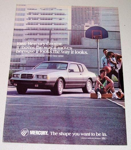 1986 Mercury Cougar Automobile Color Car Ad