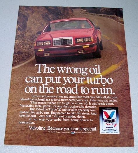 1985 Valvoline Turbo V Motor Oil Color Ad