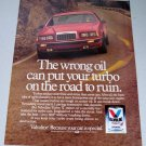 1985 Valvoline Turbo V Motor Oil Color Ad