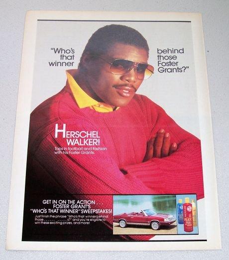 1986 Foster Grants Sunglasses Color Ad NFL Football Player Herschel Walker