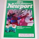 1986 Newport Cigarettes Winter Snowman Color Tobacco Ad