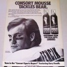 1986 Consort Styling Mousse Print Ad NFL Chicago Bears Gary Fencik