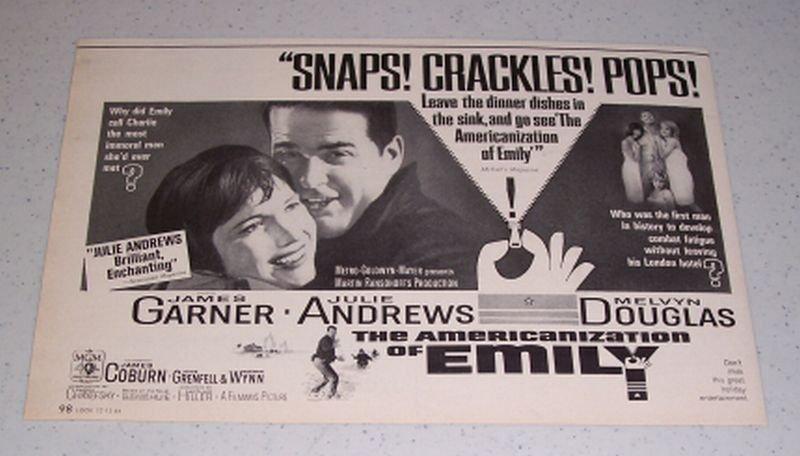 1964 Movie Ad THE AMERICANIZATION OF EMILY Celebrity James Garner Julie Andrews