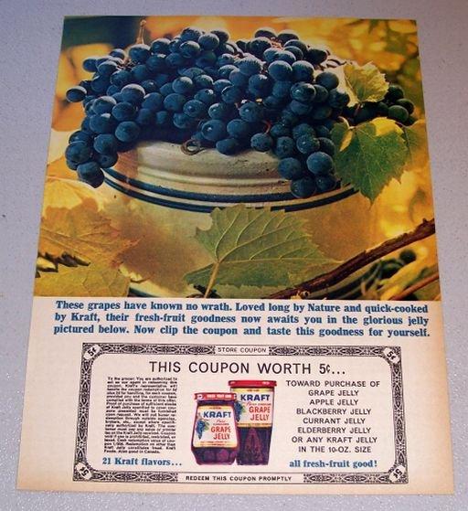 1963 Kraft Concord Grape Jelly Color Print Ad