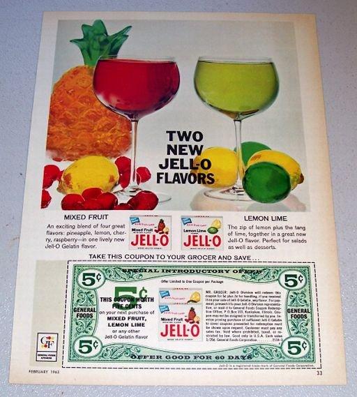 1963 Jello Gelatin Fruit Flavors Color Print Ad