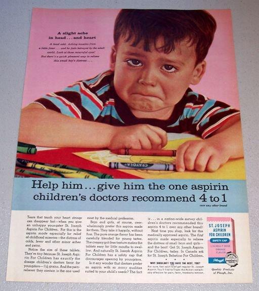 1962 St Joseph Aspirin Boy Crayola Crayons Color Print Ad