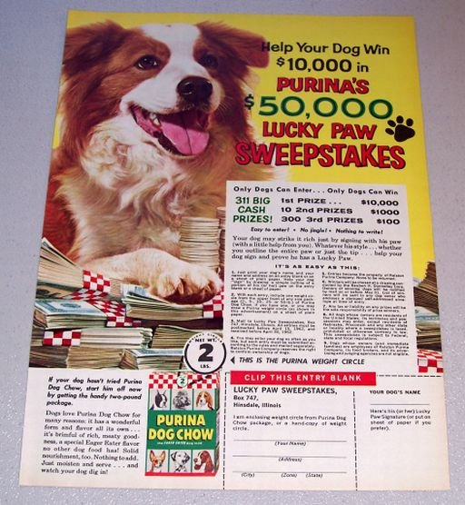 1962 Purina Dog Chow Lucky Paw Sweepstakes Color Print Ad