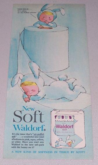1961 Waldorf Aqua Bath Tissue Bunny Art Color Print Ad