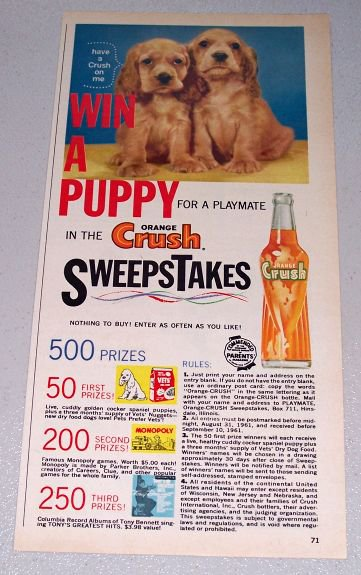 1961 Orange Crush Beverage Puppy Sweepstakes Color Print Ad
