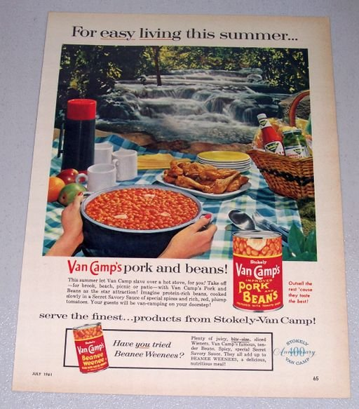 1961 Stokely Van Camp Pork Beans Woods Water Themed Color Print Ad