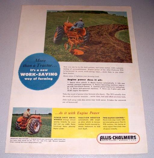 1952 Allis Chalmers WD Farm Tractor Color Print Ad