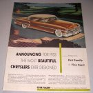1952 Color Print Ad for 1953 Chrysler New Yorker Deluxe Automobile