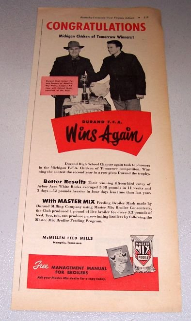 1952 Master Mix Feeds Durand FFA Roy Wallis Print Ad