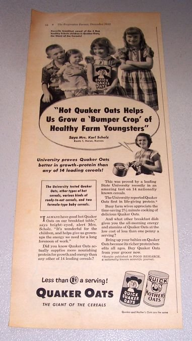 1952 Quaker Oats Mrs Karl Scholz Huron Kansas Print Ad