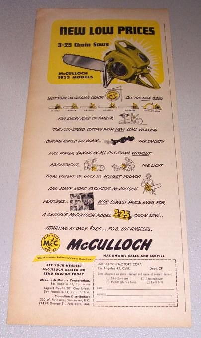 1952 Color Print Ad for 1953 McCulloch Model 3-25 Chain Saw