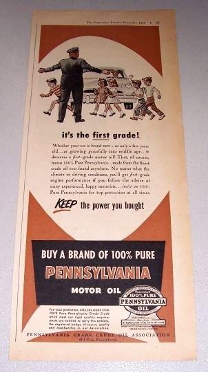 1952 Pennsylvania Motor Oil School Crossing Art Print Ad