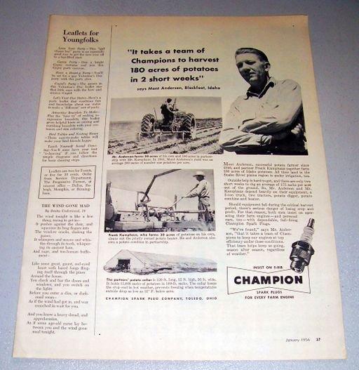 1956 Champion Spark Plugs Mont Anderson Blackfoot Idaho Print Ad