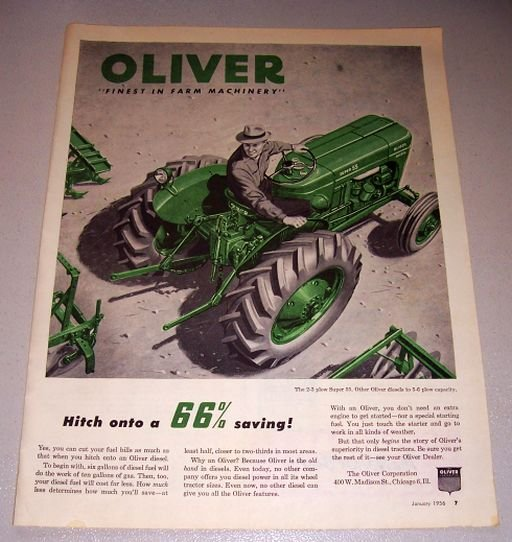 1956 Oliver Super 55 Diesel Farm Tractor Color Print Ad
