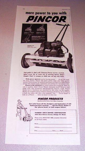 1952 Pincor P-22 Rotary Grass Cutter Lawn Mower Print Ad