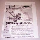 1952 Choremaster One Wheel Garden Tractor Print Ad