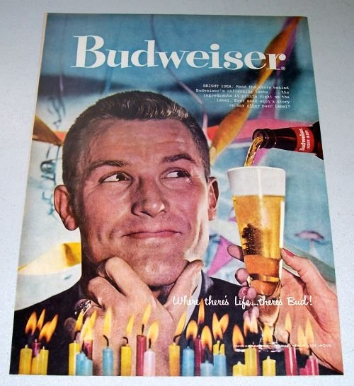 1957 Budweiser Beer Color Print Ad Bright Idea
