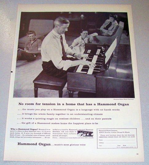 1957 Hammond Spinet Model Organ Print Ad