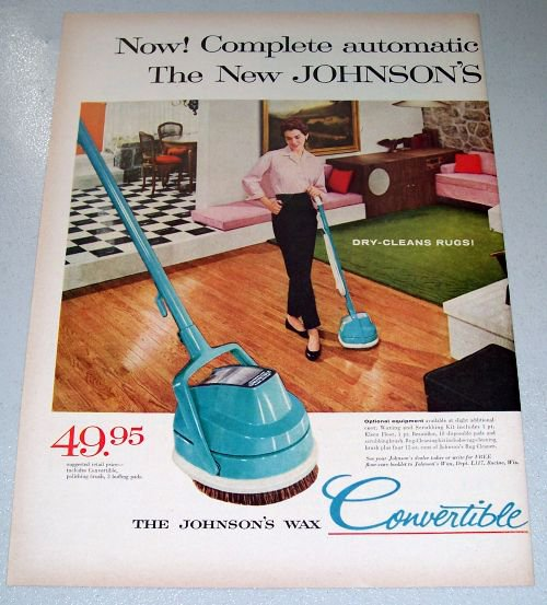 1957 Johnsons Wax Convertible Floor Machine 2 Page Color Print Ad