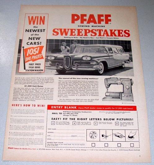 1957 PFAFF 332 Sewing Machine 1958 Edsel Station Wagon Sweepstakes Print Ad