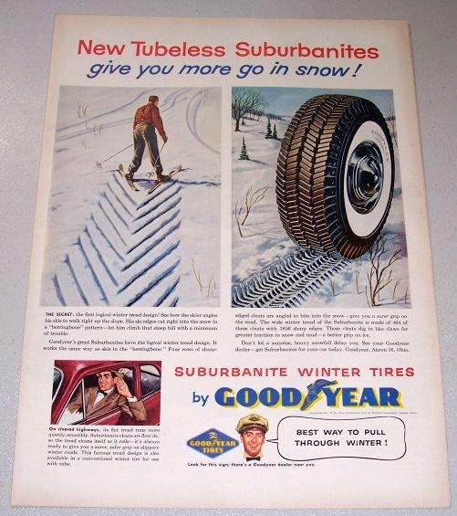1955 Goodyear Suburbanite Winter Tires Color Art Print Ad