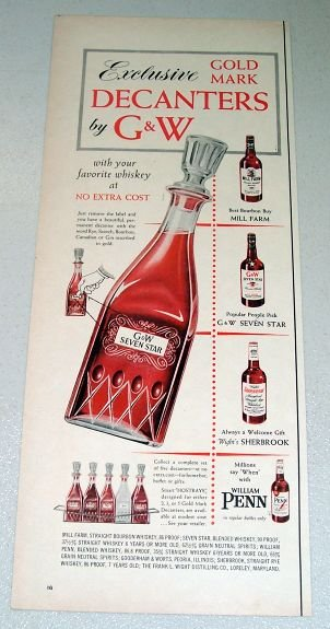 1955 GW Seven Star Gold Mark Whiskey Decanter Color Print Ad
