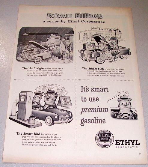 1956 Ethyl Corporation Road Birds Series Owl Animal Art Print Ad