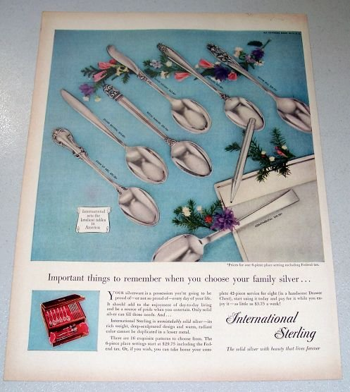 1956 International Silver Company Silverplate Flatware Dinnerware 4 Page Color Print Ad
