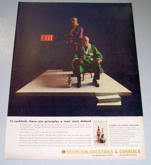 1956 Heublein Cocktails Celebrity Boris Karloff Bill Corum Color Print Ad