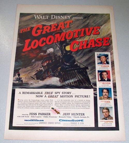 1956 Color Movie Print Ad Walt Disney THE GREAT LOCOMOTIVE CHASE