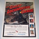 1956 Color Movie Print Ad Walt Disney THE GREAT LOCOMOTIVE CHASE
