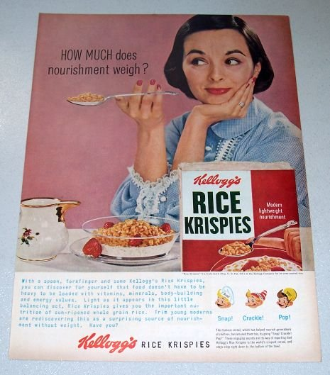 1956 Kelloggs Rice Krispies Color Print Breakfast Cereal Ad