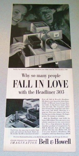 1956 Bell Howell TDC Headliner 303 Slide Projector Print Ad