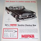 1956 Mopar Parts Plymouth Automobile Car Print Ad